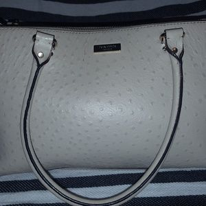 Kate Spade gray pebbled leather satchel purse